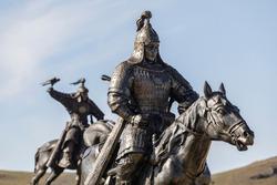 Mongolian warrior statues in Mongolia, Asia.