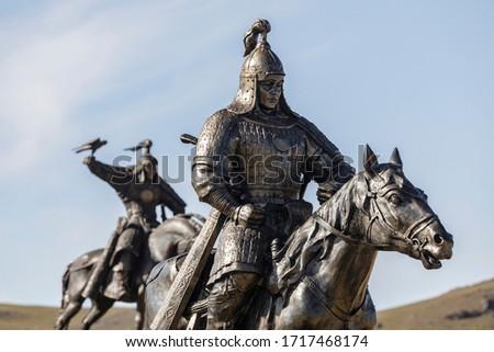 Mongolian warrior statues in Mongolia, Asia. Stock fotó ©