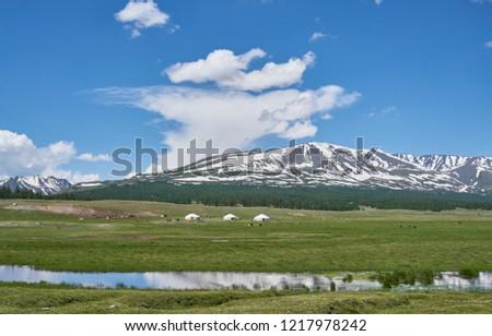 Mongolian yurts and dwellers