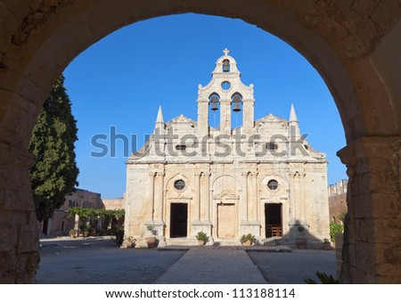Moni Arkadiou monastery at Crete island in Greece