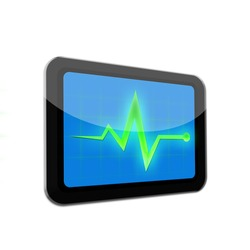 Monitor diagnostic on tablet black color on white isolated background