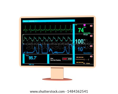 Monitor for monitoring vital signs in hospital 3D rendering
