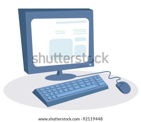 Monitor, keyboard and mouse. Desktop computer