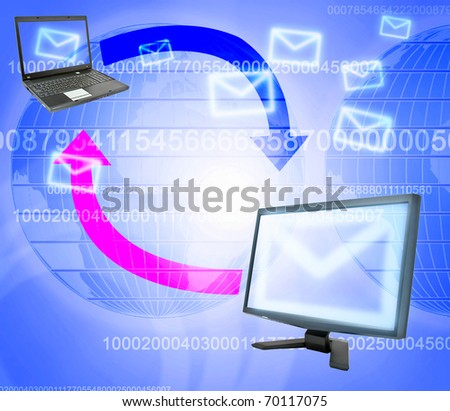 Monitor, laptop and email correspondence