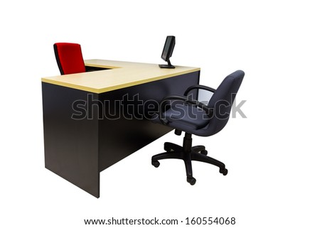 Monitor on desk at modern office in white with clipping path