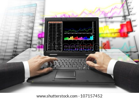 monitor on stock chart with chart background