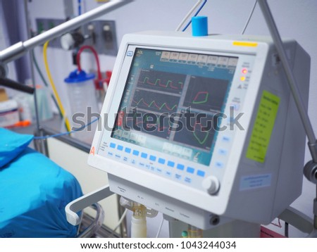 Monitor screen of the alarm machine for displaying vital signs of the patient in the intensive care unit of hospital, Medical equipment for display to evaluate the abnormalities of the patient's body #1043244034