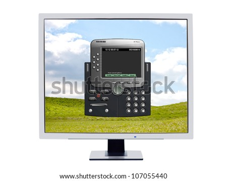 Monitor showing  a softphone software application which is used instead of having a hardware IP phone for voip technology which is operated from the computer by using the keyboard and a headset
