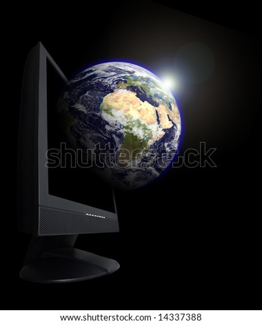 Monitor with an earth globe growing from it. This is a photoshop edited image. Some components of this montage are provided courtesy of NASA, and have been found at http://visibleearth.nasa.gov/