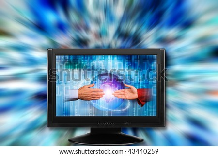 monitor with male and female hand shaking