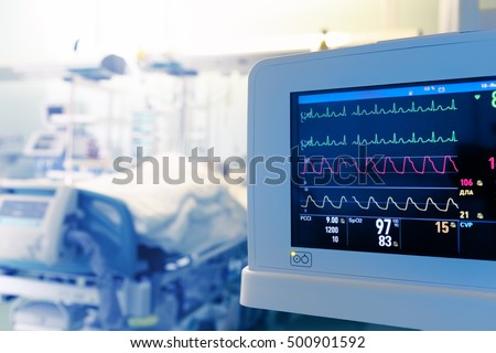 Monitoring of patient's heart in intensive care unit. Photo stock ©