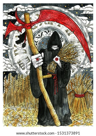 Monk in black cloak holding scythe against harvest of rye and vintage clock. Colorful graphic engraved illustration. Fantasy and mystic drawing. Gothic, occult and esoteric background for Halloween