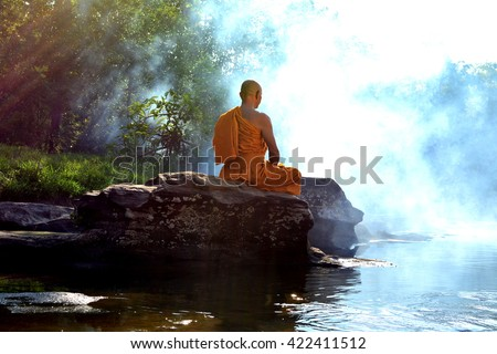 Monk in Buddhism Meditation in nature
