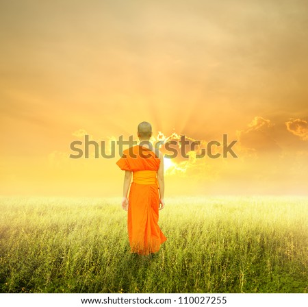 Monk Walk in grass fields and sunset