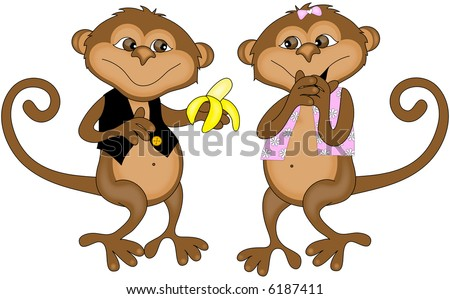 Two Monkeys in Love Monkey Couple in Love Clip Art