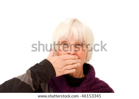 Monkey dont say nothing! woman holding hand over mouth on white
