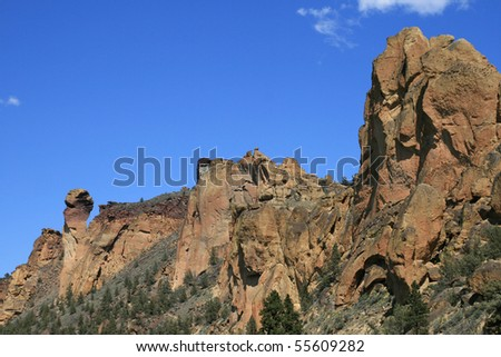 monkey face rock formation on the back side at Smith Rock State Park, Oregon