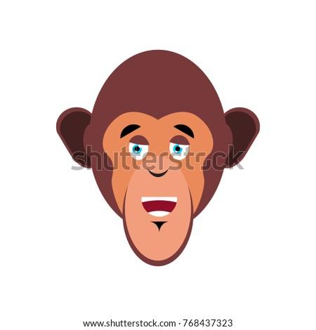 Monkey happy Emoji. marmoset merry emotion isolated. Chimpanzee face