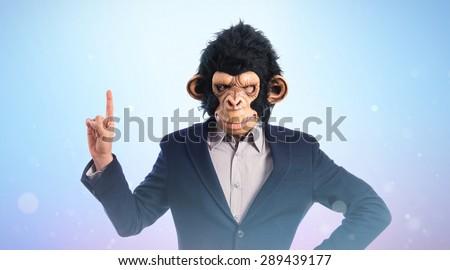 Monkey man pointing up