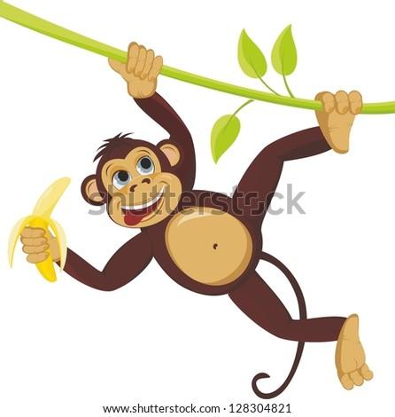 Monkey on liana with banana - stock photo