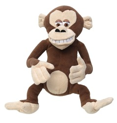 Monkey plush toy. Ape plushie plaything. coaita isolated on white background. simian on white bg.