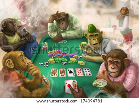 Monkeys playing poker