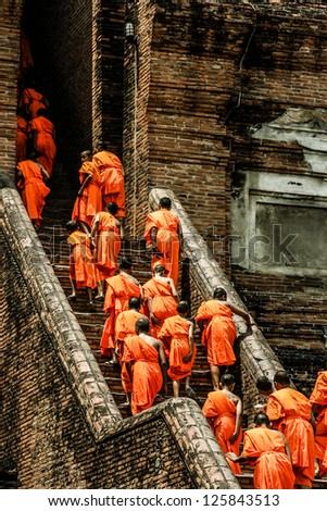 Monks in Ayutthaya, Thailand
