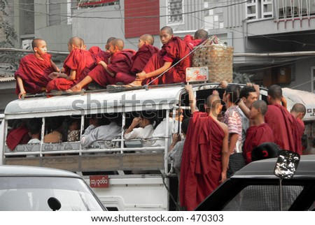 Monks on Bus, Mandalay, Myanmar (Burma)