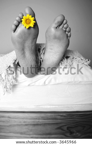 Mono feet at the end of the bed with color flower