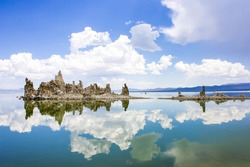 Mono Lake, a large, shallow saline soda lake in Mono County, California, with tufa rock formations.