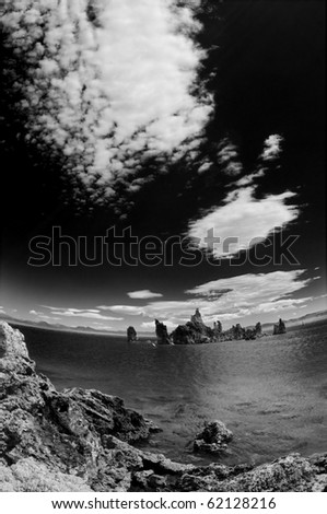 Mono Lake in Black and White, super wide angle and dramatic sky.