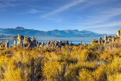 Mono Lake shores is a salt lake in California. The natural wonder of the world is Lake Mono. Magic sunrise