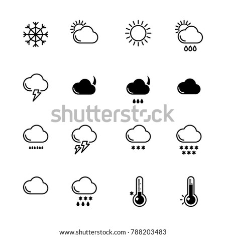 Mono line icons set. Weather symbols. Wind, rain and sunny illustration. Monochrome symbol weather, snowflake and sun
