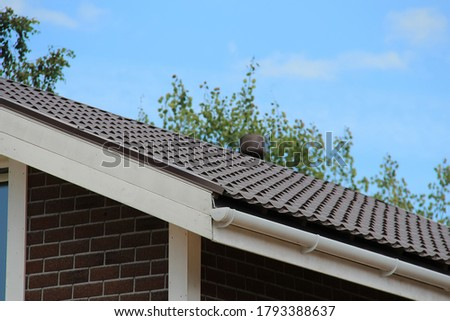 Mono-pitched roof with roofing and fencing. pent or lean-to roof Foto stock ©