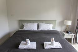monochromatic dark grey white color cozy bed luxury  nobody living