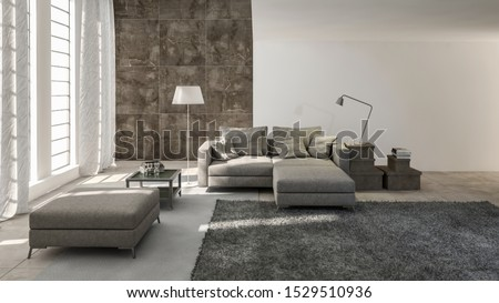 Monochromatic grey modern living room interior in a converted double volume loft with comfortable day bed and ottoman around a rug in front of tall windows, 3d rendering