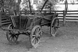 Monochromatic photography of a very old peasant horse wooden cart on a polish agricultural farm.