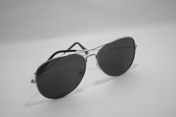 Monochromatic trendy gradient sunglasses on white isolated background, Black Polarized cool fashionable goggles