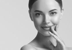 Monochrome beauty woman face healthy skin portrait