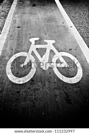 Monochrome bicycle road sign
