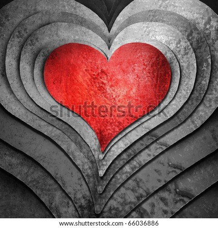 monochrome black and gray background with bold red heart in center