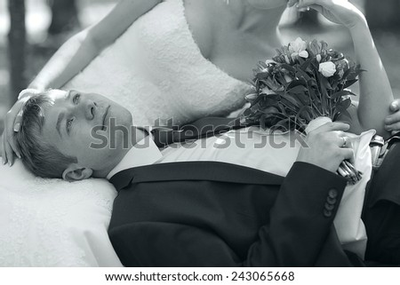 monochrome black and white photo of the wedding the bride and groom portrait #243065668