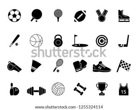 Monochrome black sport symbols. pictures set