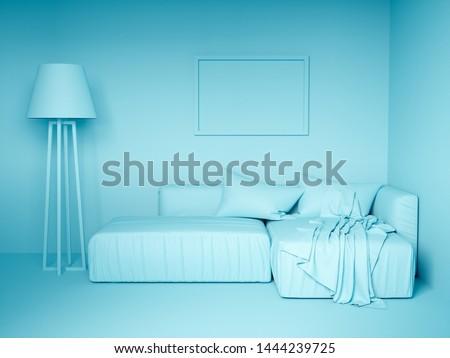 Monochrome blue colorized design interior. 3d rendering illustration