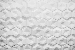 Monochrome contrast Hexagonal wall texture surface. Abstract pattern background.
