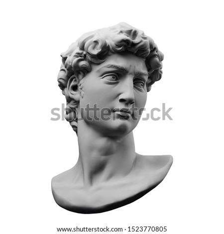 Monochrome 3D rendering illustration of head bust classical sculpture isolated on white background. Foto stock ©