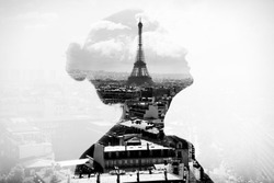 Monochrome double exposure portrait of attractive girl with Paris