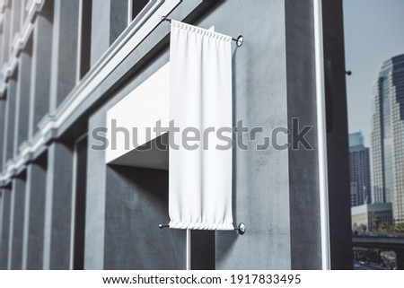 Monochrome effect with blank white advertising roll up signage on concrete wall outdoor. Mockup. 3D rendering Photo stock ©