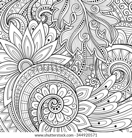 Monochrome Floral Background. Hand Drawn Ornament with Flowers. Template for Greeting Card