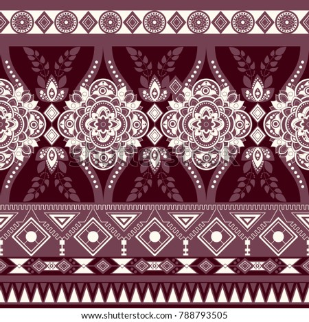 Monochrome floral seamless pattern, ethnic ornament. Border wallpaper with decorative elements